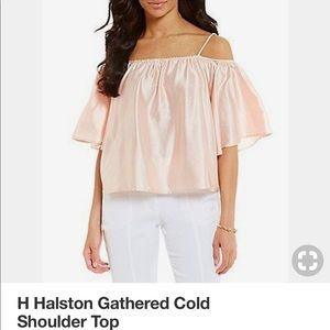 H Halston Gathered Cold Shoulder Top! NEW/Tags
